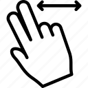 fingers, horizontal, swipe, two icon