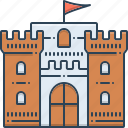 castle, chateau, citadel, flag, flanker, mansion, stronghold icon