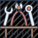 apparatus, appliance, equipment, exhibit, instrumentation, tools