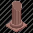 ancient column, broken column, landmark, museum, vintage pillar icon