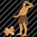 ancient human, caveman, history symbol, prehistoric man, stoneage icon
