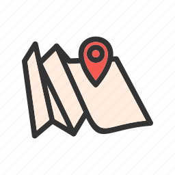 antique, folded, map, north, old, paper, travel icon
