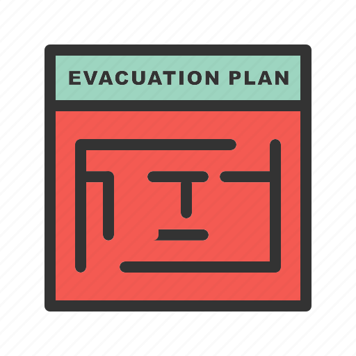building, danger, emergency, evacuation, exit, plan, warning icon
