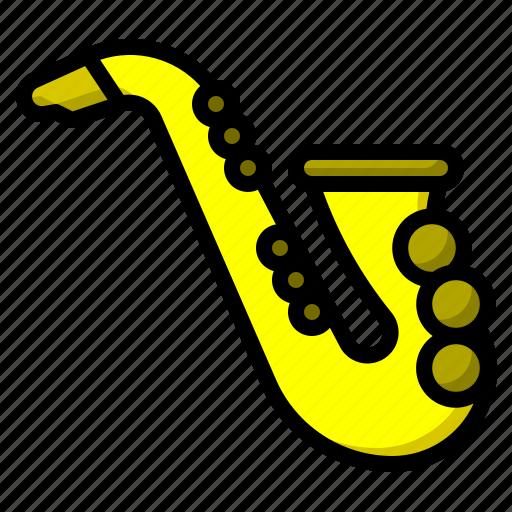 instrument, jazz, music, musical, saxophone, wind icon