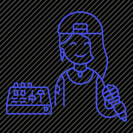 1, adjustment, artist, eq, equalizer, female, hip, hop, microphone, music, musicians, rap icon