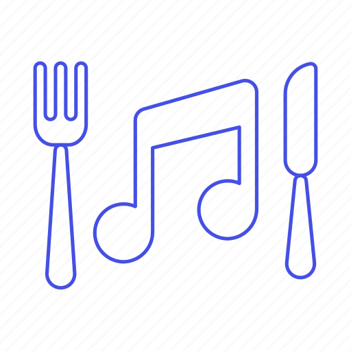 ambient, cutlery, diner, dining, double, fork, genre, instrumental, knife, music, note, playlist icon