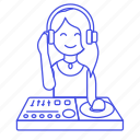 controller, dj, female, headphones, mix, mixer, music, system, turntable icon