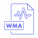 audio, digital, file, format, music, sound, wave, wma icon