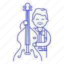bass, bassist, bowed, double, half, male, music, musicians, orchestra, symphony icon