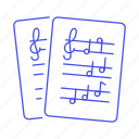 musical, sheet, cleff, note, notation, treble, music, composition icon