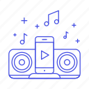 button, connect, mobile, music, phone, play, player, smartphone, speaker icon