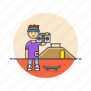 audio, boombox, instrument, man, music, play, sound icon