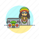 audio, instrument, man, music, play, reggae, sound icon