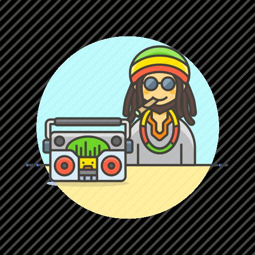 audio, instrument, man, music, play, reggae, sound icon