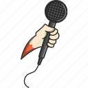 hand, hand and microphone, microphone, music, musical, play, video icon