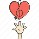 dance, hand, heart, music, music notes, musical, sound of music icon