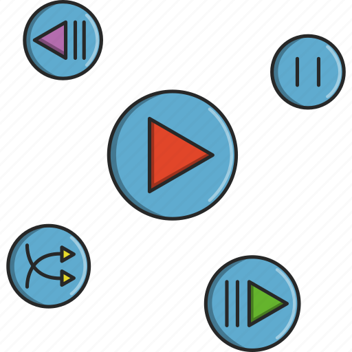 music, next, pause, play, previous, shuffle, video icon