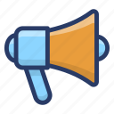 advertisement, bullhorn, loudspeaker, media promotion, megaphone icon