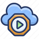 cloud computing, cloud hosting, cloud media player, cloud music icon