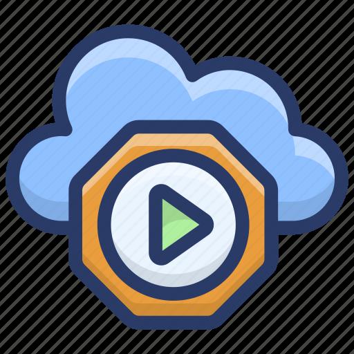 cloud computing, cloud hosting, cloud media player, cloud music icon