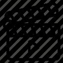 action symbol, clapper board, director equipment, open clapperboard, theatre icon