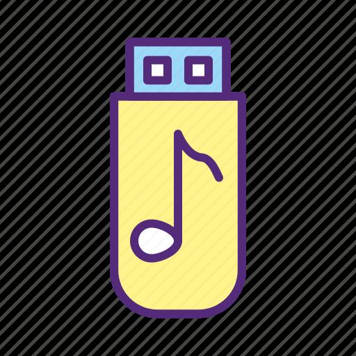 audio, drive, flash, music, storage, transfer, usb icon