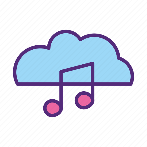 audio, cloud, download, music, note, song, stream icon