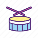 audio, band, drum, instrument, music, snare, sound icon