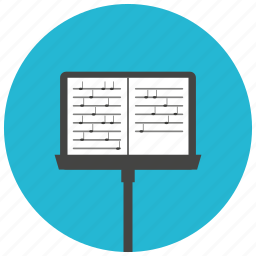 entertainment, music, notes, orchestra, sheet, stand, symphony icon