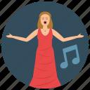 entertainment, music, note, opera, preformer, singer icon