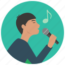 entertainment, karaoke, man, microphone, music, note, singer icon