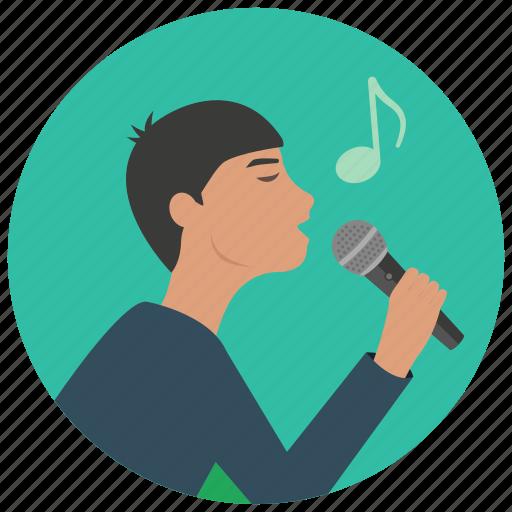 entertainment, karaoke, man, microphone, music, note, singer icon
