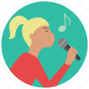 entertainment, karaoke, microphone, music, preformer, singer, woman icon