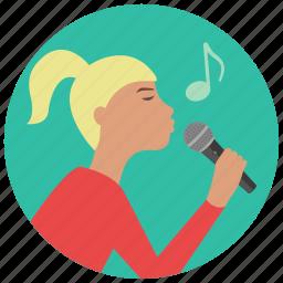 entertainment, karaoke, microphone, music, preformer, singer, woman icon