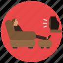 armchair, entertainment, lazy, man, music, recliner, tv icon