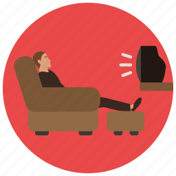armchair, entertainment, lazy, man, music, recliner, tv icon