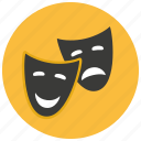 comedy, entertainment, happy, mask, sad, theater, tragedy icon