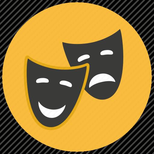 comedy, entertainment, happy, mask, sad, theater, tragedy icon
