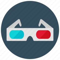 entertainment, glasses, movies, music, theater, three dimension icon