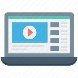 laptop, live buffering, live streaming, online video, video player icon
