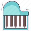 electrical instrument, grand piano, keyboard synthesizer, musical keyboard, piano, synth icon
