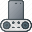dock, plug, smartphone, sound icon
