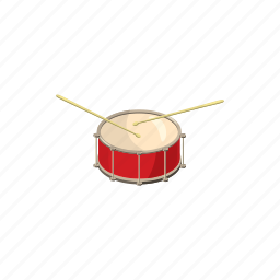 cartoon, drum, drumstick, instrument, music, percussion, sound icon