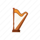 cartoon, classic, harp, instrument, music, musical, string icon