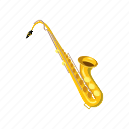 cartoon, instrument, isometric, jazz, music, musical, saxophone icon