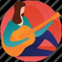 concert, female guitarist, female playing guitar, guitar player, playing guitar icon