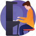 keyboard, music, musical instrument, musician, pianist, playing piano icon