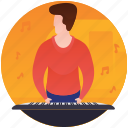 keyboard music, musical instrument, musician, pianist, playing piano icon