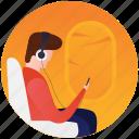 airplane travel, music app, music on travel, passenger, passenger listening music icon