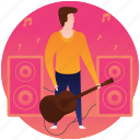 guitar, guitar player, guitarist, male with guitar, musician icon